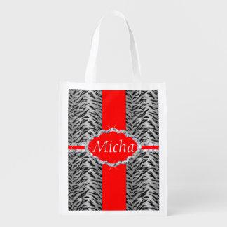 White Tiger Print Diamond Red Monogram Reusable Grocery Bags