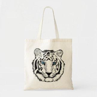 White Tiger reusable canvas shopping bag