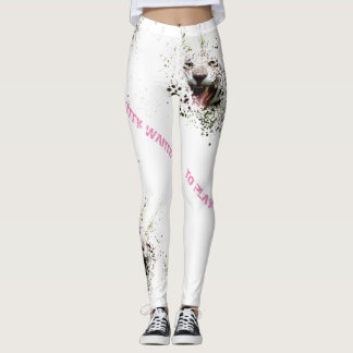 White Tiger Roaring KITTY WANTS TO PLAY Watercolor Leggings
