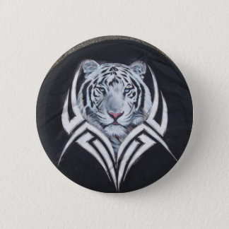 White Tiger Tribal 2 Inch Round Button