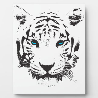 White Tiger with Blue Eyes Photo Plaques