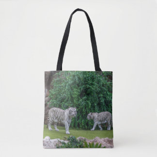 White tigers all-over-print tote bag