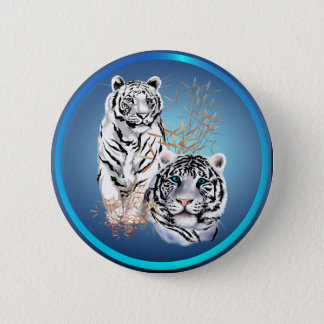 White Tigers -Buttons 2 Inch Round Button