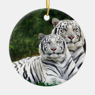 White Tigers Ceramic Ornament