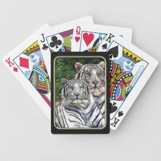 White Tigers Fractal Art Playing Cards