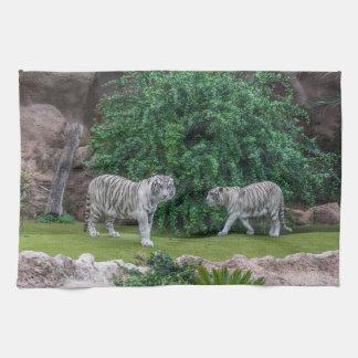 White tigers kitchen towel