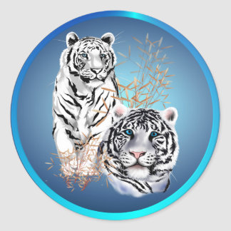 White Tigers -Stickers Classic Round Sticker