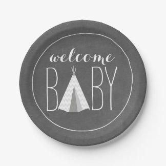 White Tipi Baby Shower - Chalk Inspired Paper Plate