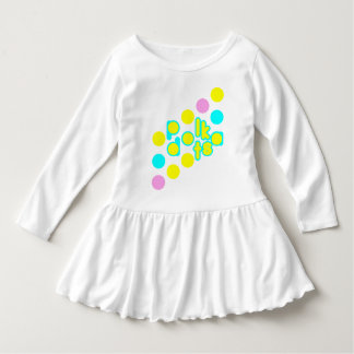White Toddler Ruffle Dress with Polka Dot Design