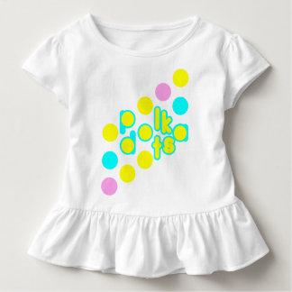 White Toddler Ruffle Tee w/Polka Dot Design