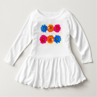 WHITE TODDLER RUFFLED DRESS WITH A DAISY DESIGN