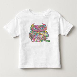 White Toddler T-shirt, Rainbow Owl Design Toddler T-shirt