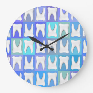 White Tooth Blue Box Pattern Dentist Wall Clock