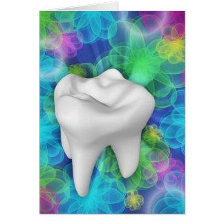 White Tooth Flower Design Dentist Card