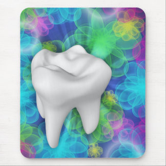 White Tooth Flower Design Dentist Mousepad
