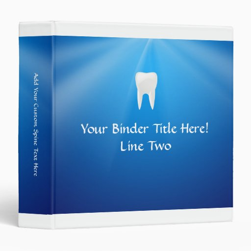 White Tooth on Blue Background 3 Ring Binder
