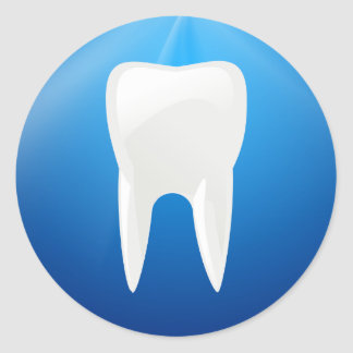 White Tooth on Blue Background Classic Round Sticker