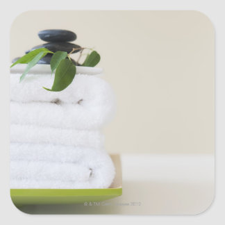 White towels and spa stones square sticker