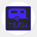 White Trailer Park Trash Poor Dumb Redneck Round Sticker