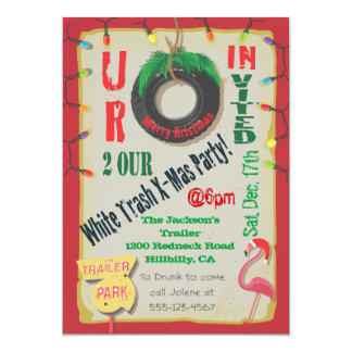 White Trailer Trash Christmas Party Invitations
