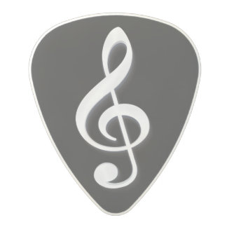 White Treble Clef on a Black Background Polycarbonate Guitar Pick