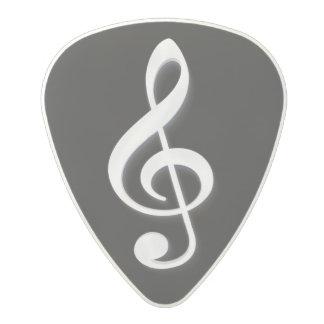 White Treble Clef on a Black Background Polycarbonate Guitar Pick