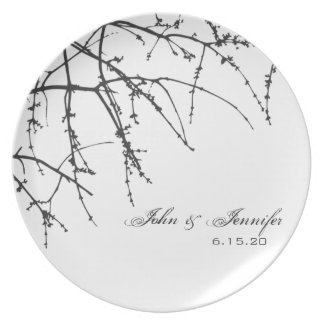 White Tree Branch Silhouette Plate
