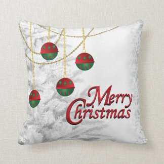 White Tree with Gold, Green & Red Merry Christmas Throw Pillow
