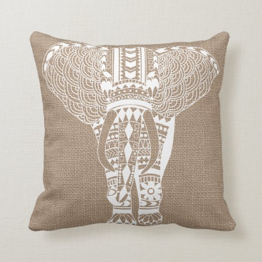 White Tribal Elephant FAUX Burlap Throw Pillow