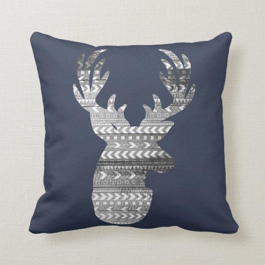 White Tribal Geometric & Grey Barn Wood Stage Deer Throw Pillow