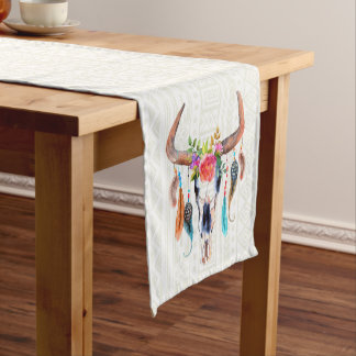 White Tribal Pattern Bull Skull Short Table Runner