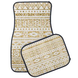 White Tribal Pattern Gold Glitter Car Floor Carpet