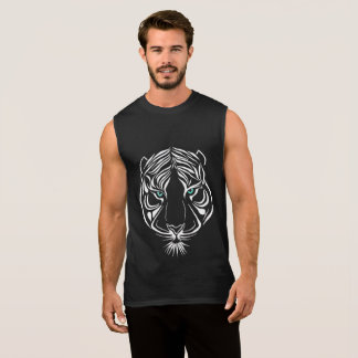 White Tribal Tiger on Dark Sleeveless T-Shirt