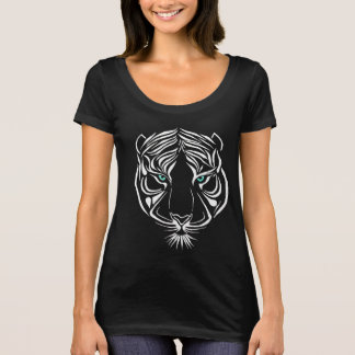 White Tribal Tiger on Dark T-Shirt