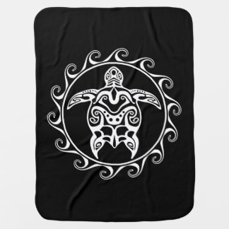 White Tribal Turtle Baby Blanket