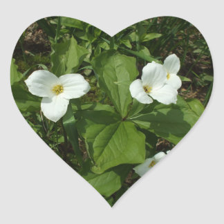 White Trillium Heart Sticker