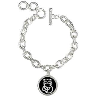 White Trinity Knot Celtic Cat Bracelet