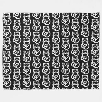 White Trinity Knot Celtic Cat Fleece Blanket