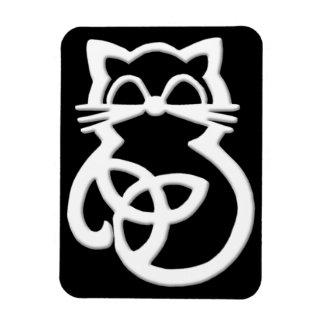 White Trinity Knot Celtic Cat Magnet