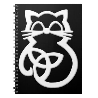 White Trinity Knot Celtic Cat Notebook