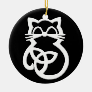 White Trinity Knot Celtic Cat Ornament
