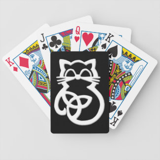 White Trinity Knot Celtic Cat Playing Cards