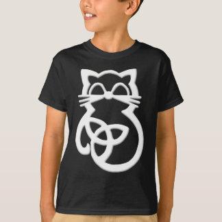 White Trinity Knot Celtic Cat T Shirt