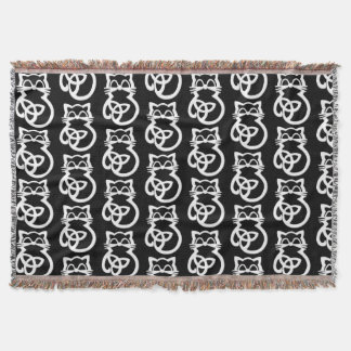 White Trinity Knot Celtic Cat Throw Blanket