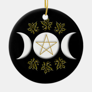 White Triple Moon & Gold Pentagram w/ Holly Leaves Round Ceramic Ornament