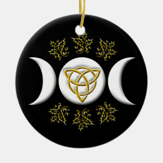 White Triple Moon & Golden Tri-Quatra on Black Round Ceramic Ornament