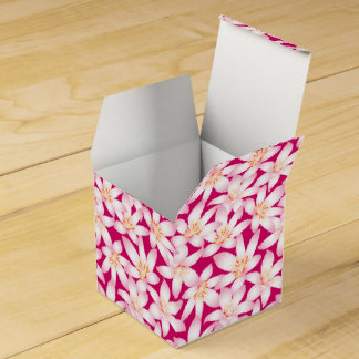 White tropical floral on pink favor box