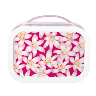 White tropical floral on pink lunch box