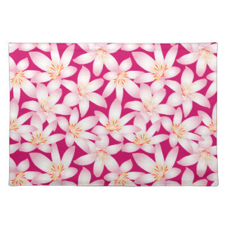 White tropical floral on pink placemat