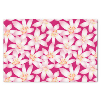 White tropical floral on pink tissue paper
